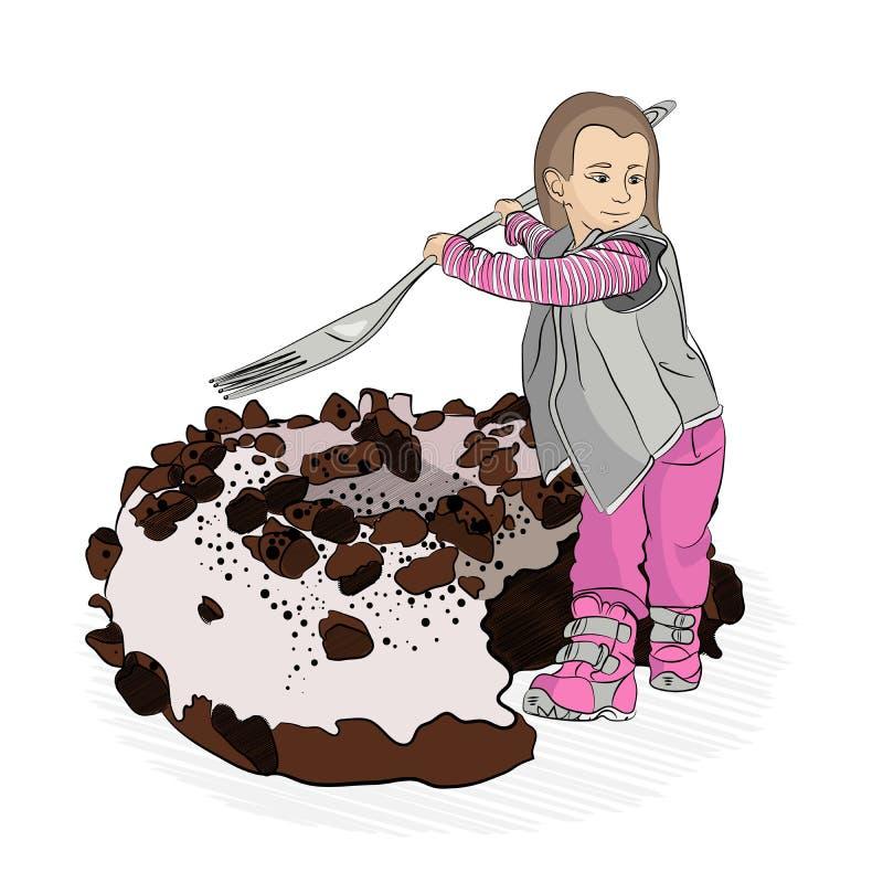 children';s菜单 孩子的饮食 婴孩背景食物通心面原始的白色 向量例证