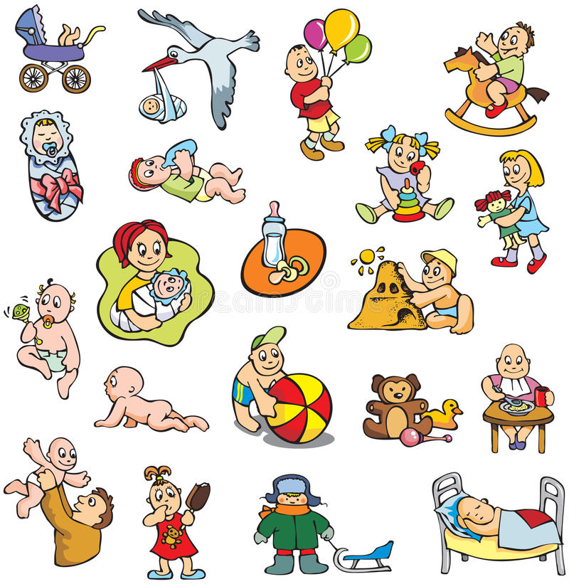 Children. Collection of cartoon drawing of children, babies, different activities, vector illustration royalty free illustration
