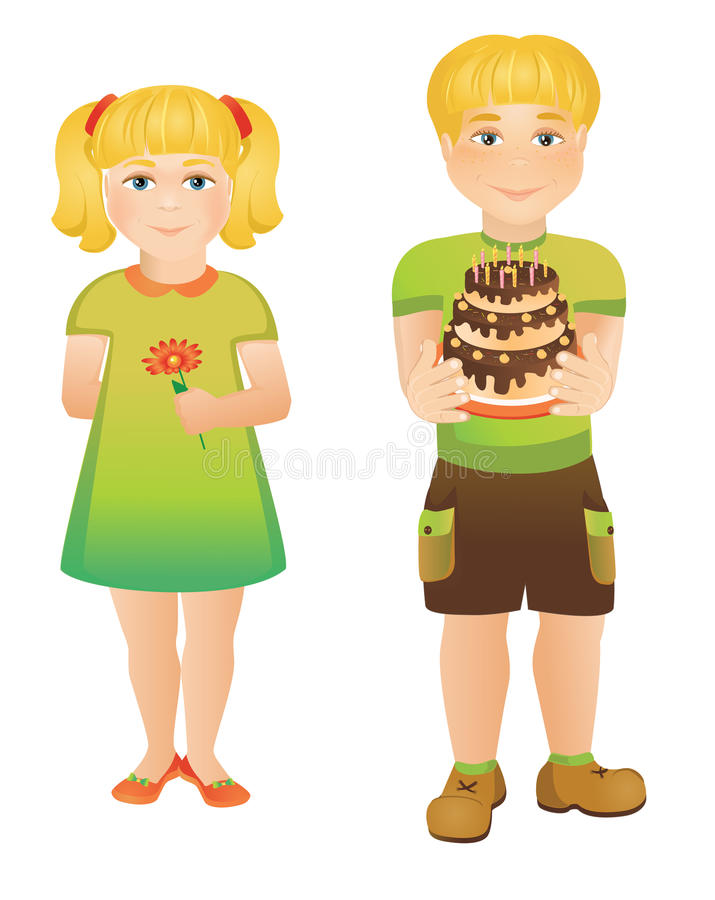 Children. Cheerful children with cake and flower royalty free illustration