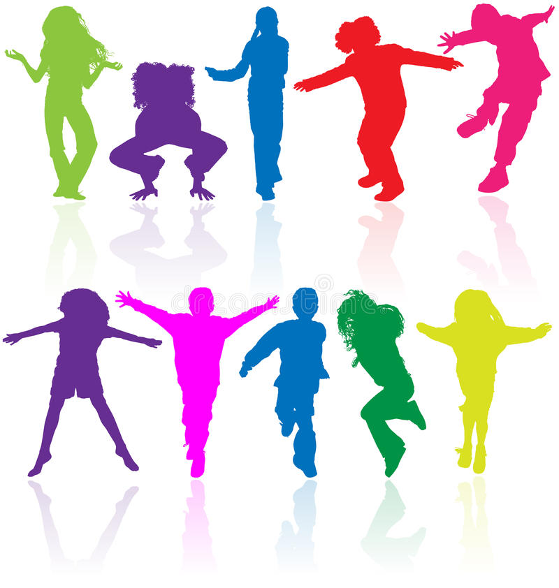 Group of happy school active children silhouette jumping dancing playing running healthy kids child kid kinder action youth play. Set of colored active children vector illustration