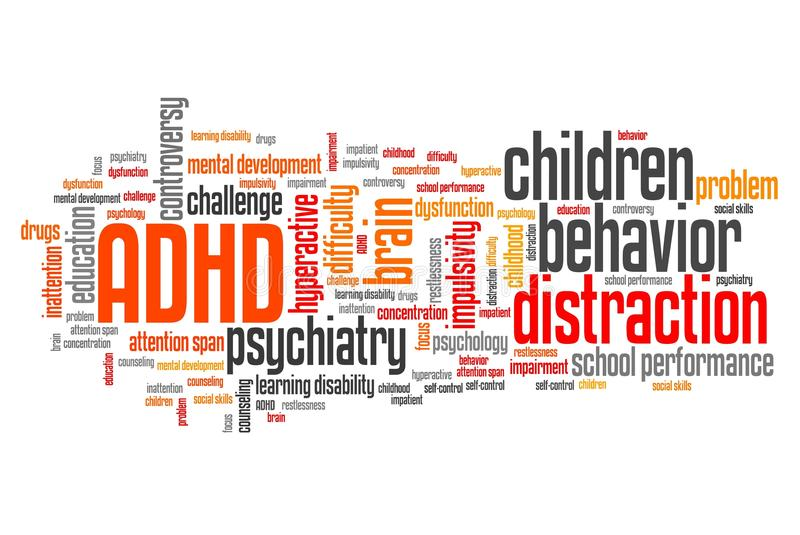 Children ADHD. ADHD - Attention deficit hyperactivity disorder. Education problem. Word cloud sign royalty free illustration