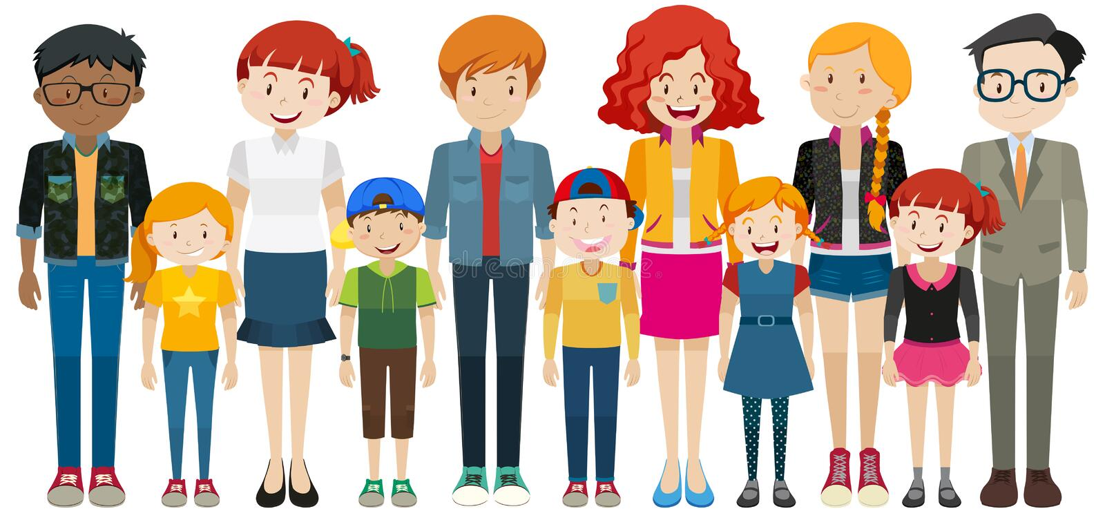 Children and adult standing royalty free illustration