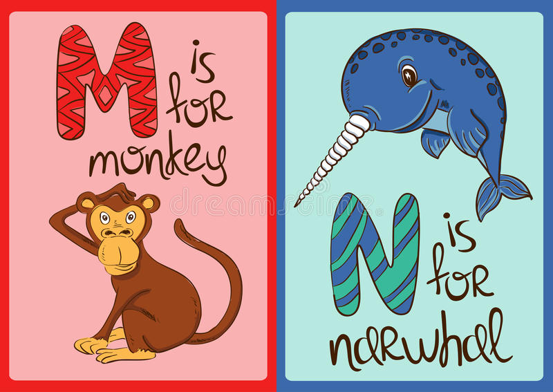 Children Alphabet with Funny Animals Monkey and Narwhal. Colorful children alphabet with funny cartoon animals. Isolated cards with letter M and N. Monkey and vector illustration