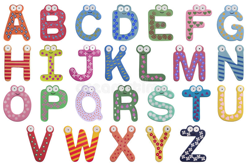 Alphabet. Latin alphabet for children isolated on white background. There are cute eyes and vivid colors, childish and simple figures on every letter. Letters royalty free illustration