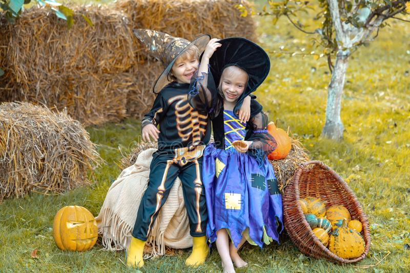 Children in America celebrate Halloween. Happy Halloween Children girl and boy sit on hay or straw on meadow in autumn. royalty free stock photos