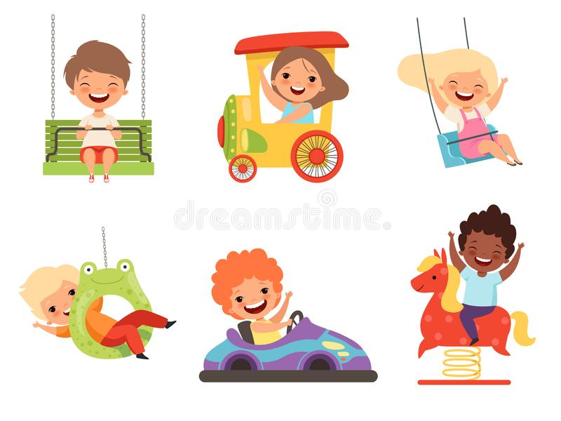 Children amusement park. Happy kids sitting and playing various attractions games smiling male female boys and girls vector illustration