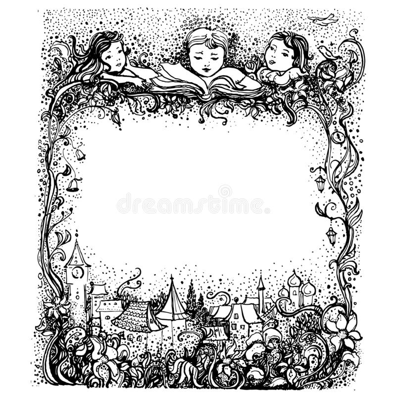 Children angels with a book. Vector vintage border frame engraving with retro ornament pattern in antique rococo style stock illustration