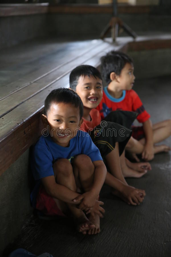 Children Angklung Ujo Pack music school in Bandung. In Indonesia stock photos