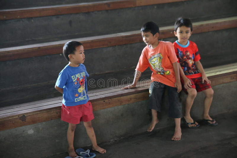 Children Angklung Ujo Pack music school in Bandung. In Indonesia royalty free stock photography