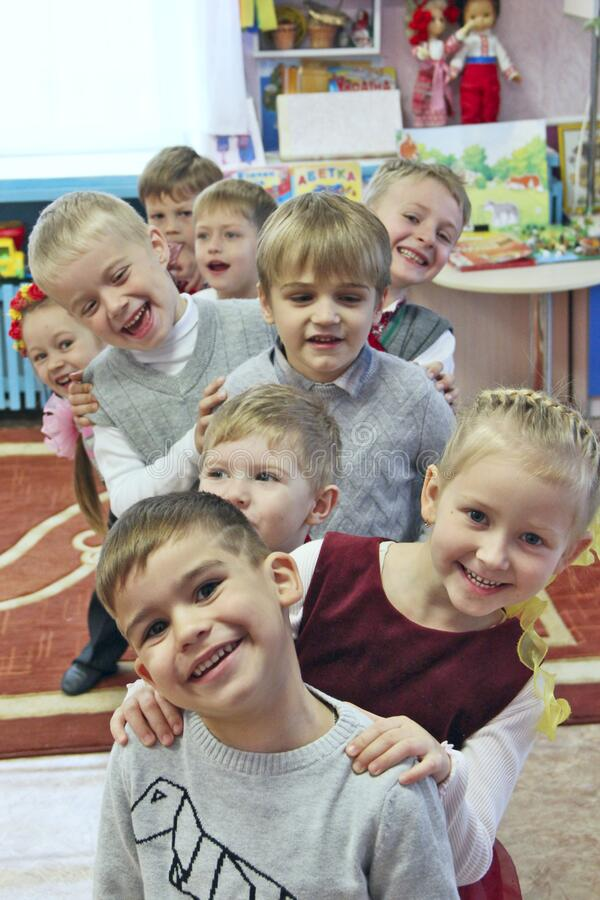 Free Children Are Laughing In Kindergarten. Funny Kids. Baby Smiles Stock Image - 183917031