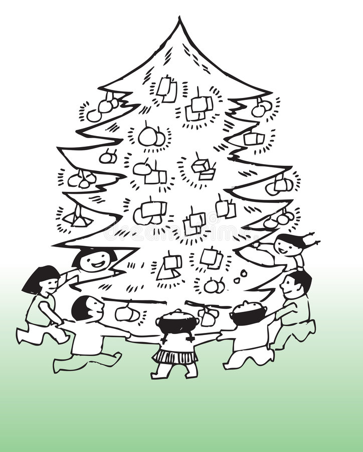 Download Children Around Christmas Tree Stock Vector - Image: 6205336