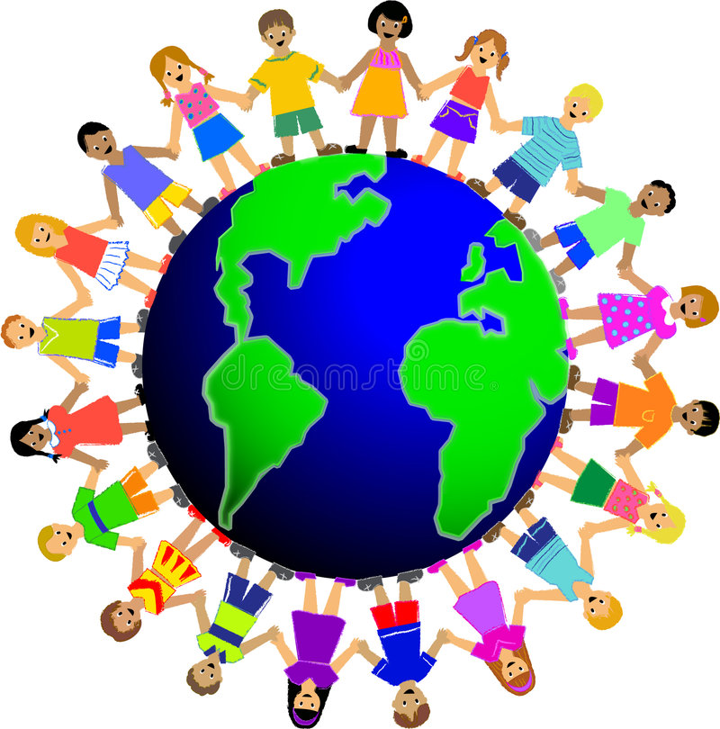 Children Around the World. Illustration of multi-cultural children holding hands surrounding the globe, symbolizing world unity and peace...other illustrations