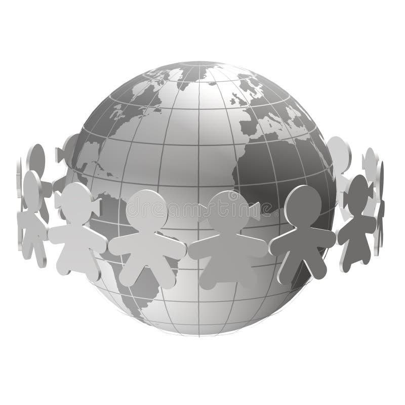 Children around the world. Silhouettes of children around the world stock illustration