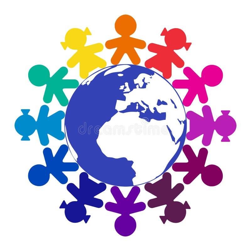 Children around the world. Isolated royalty free illustration
