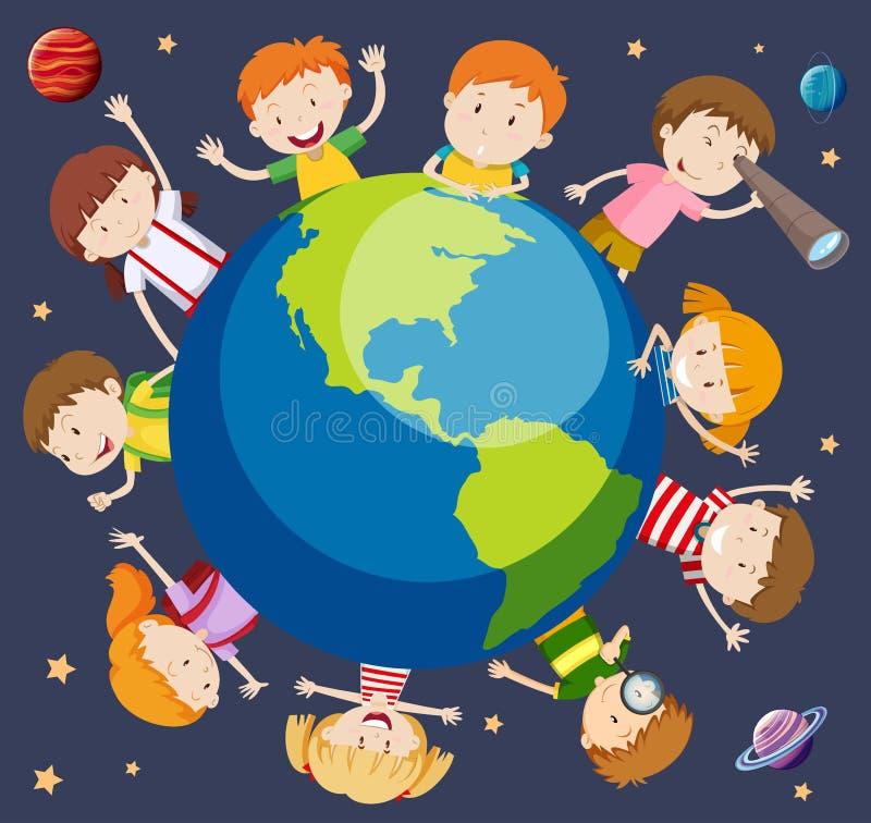 Children around the world concept. Illustration royalty free illustration