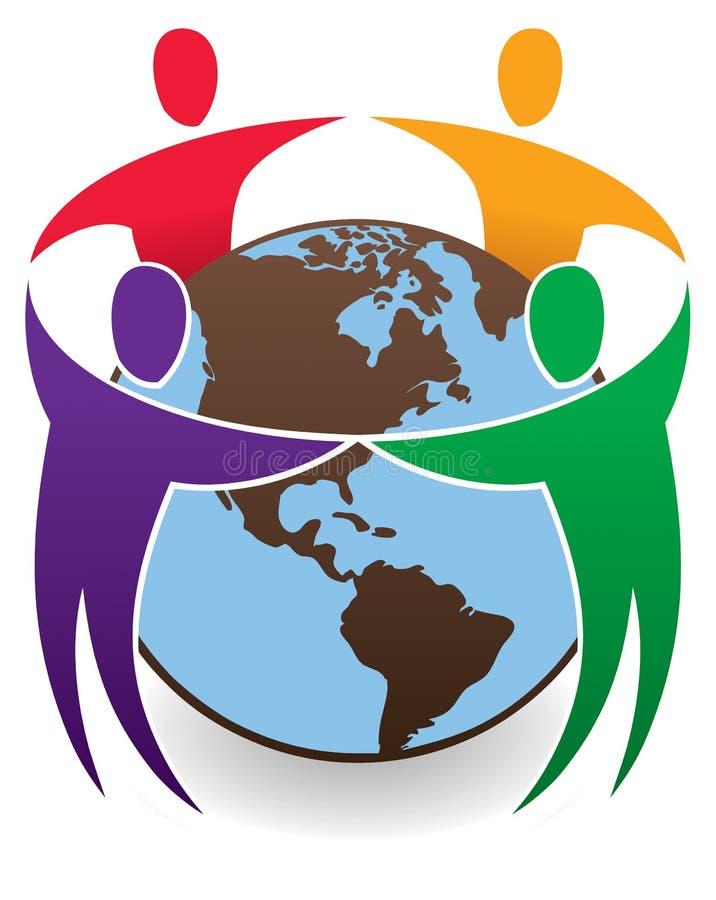 Children around the world. Happy Children connect their hands and join around the world stock illustration