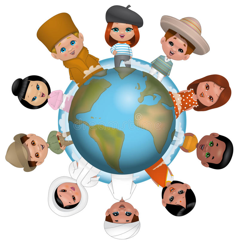 Children around the world royalty free illustration