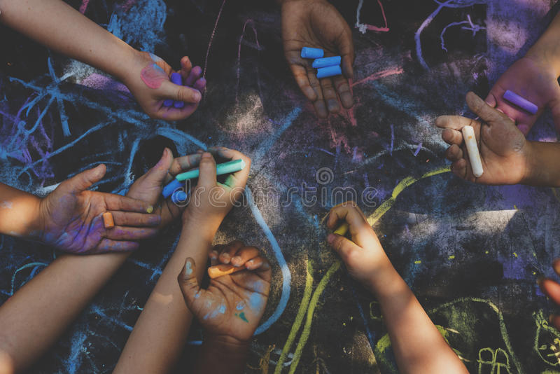 Children art drawing together concept stock images