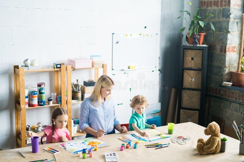 Children at art school royalty free stock photos