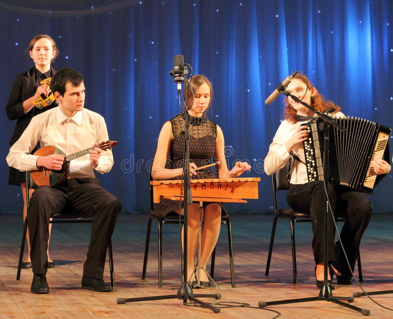 Children artists musicians. Musical sextet children's collectives of folk instruments on the stage of Kiev vdortsa children and youth. Jewish music stock photo