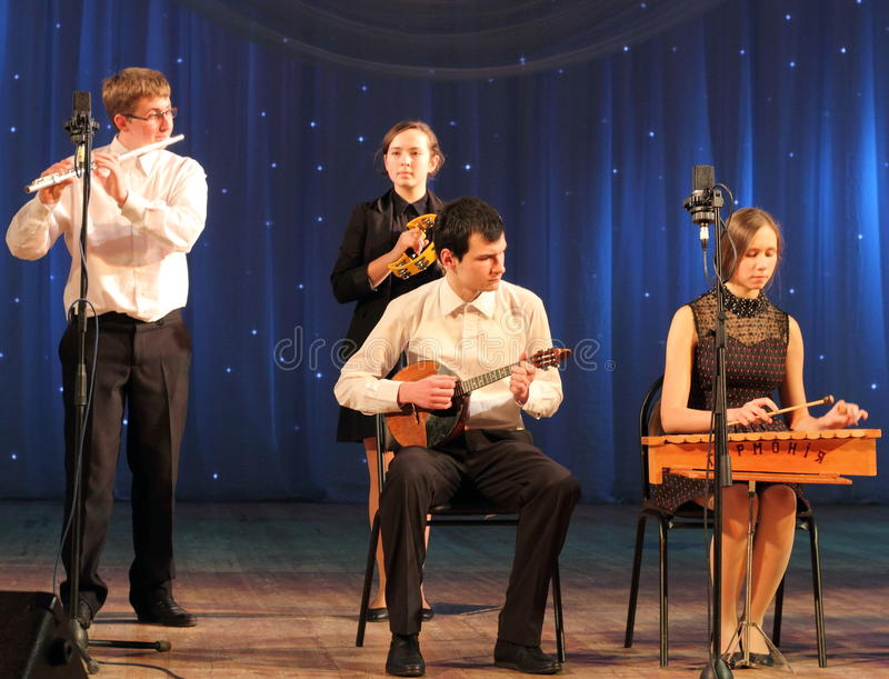 Children artists musicians. Musical sextet children's collectives of folk instruments on the stage of Kiev vdortsa children and youth. Jewish music stock image