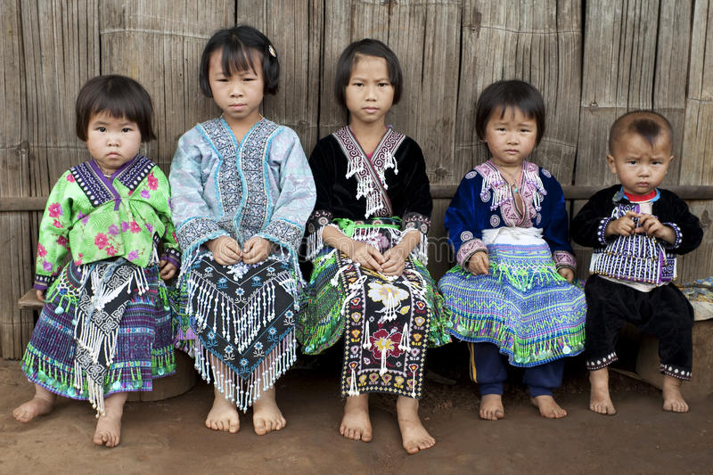 Children of Asia, ethnic group Meo, Hmong. In the north of Thailand stock photo