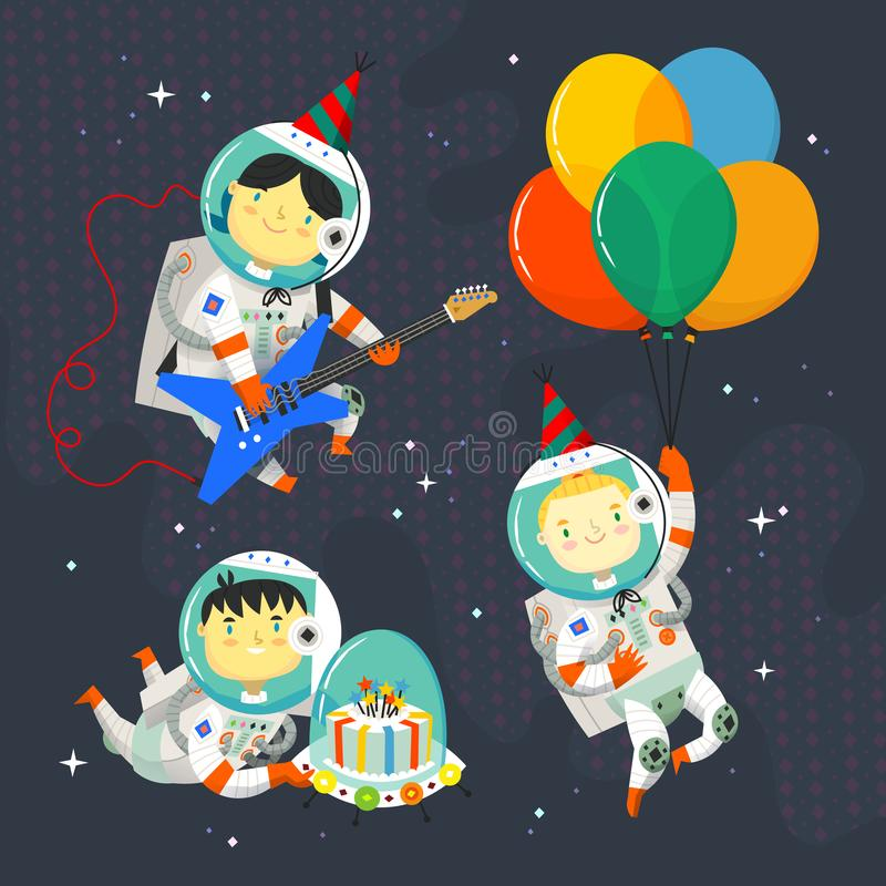 Children astronauts wearing space suits and party hats floating in outer space. Birthday party in cosmic style. Isolated vector images for your greeting cards vector illustration