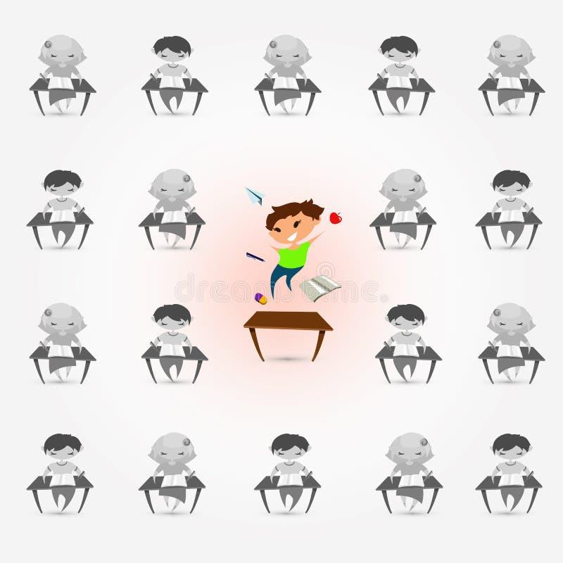 Children attention deficit hyperactivity disorder problem. Vector illustration of classroom. Children studying. Flat boys and vector illustration