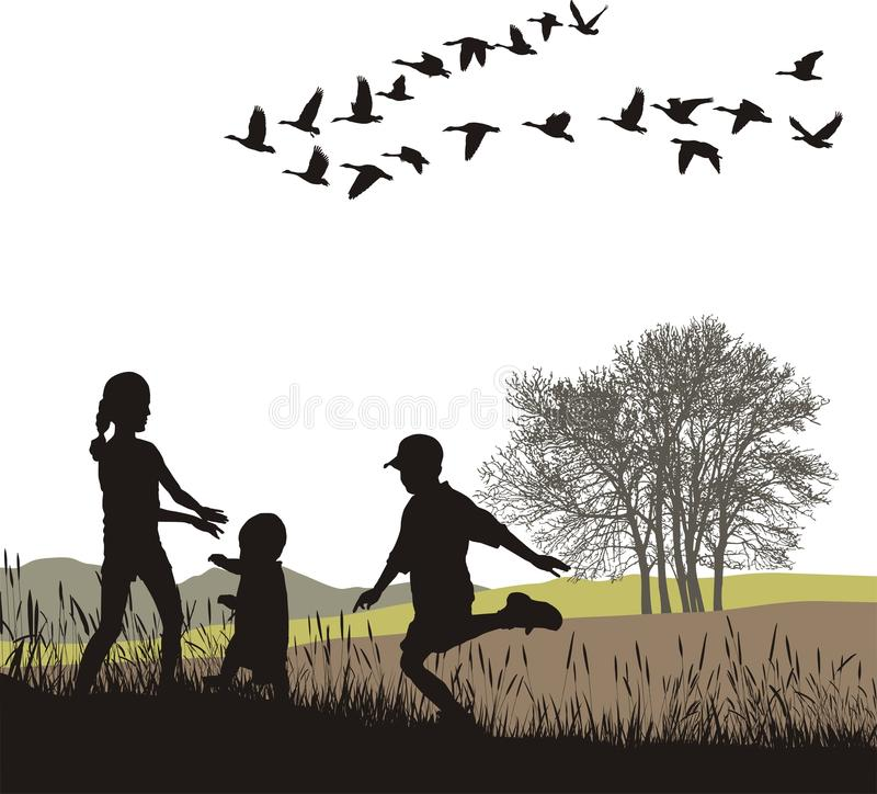 Download Children In The Autumn Country, Vector Illustratio Stock Vector - Image: 16370826