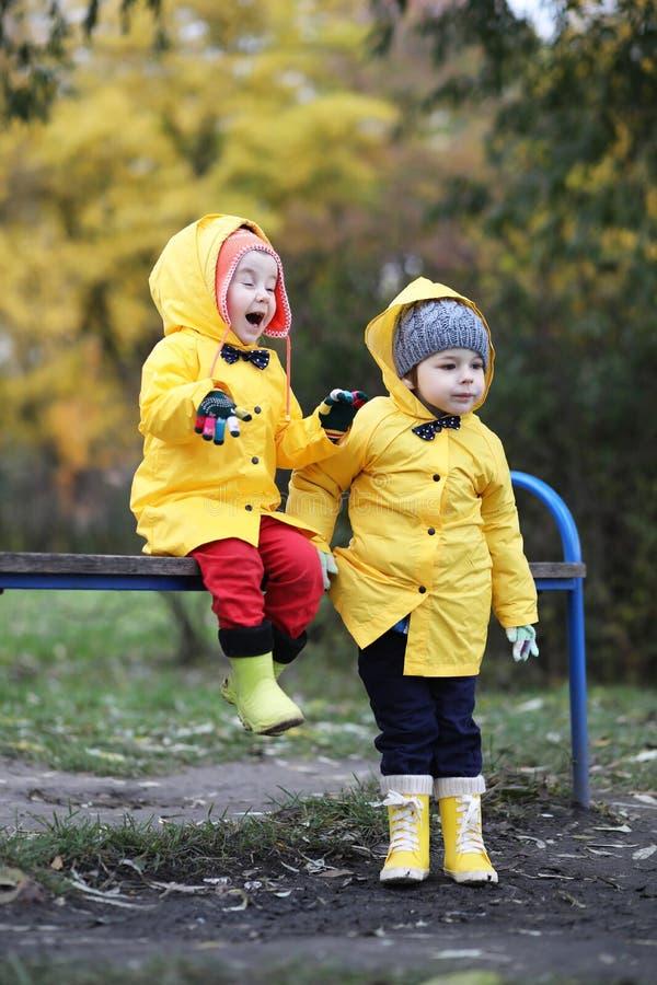 Children in the autumn park walk royalty free stock photo