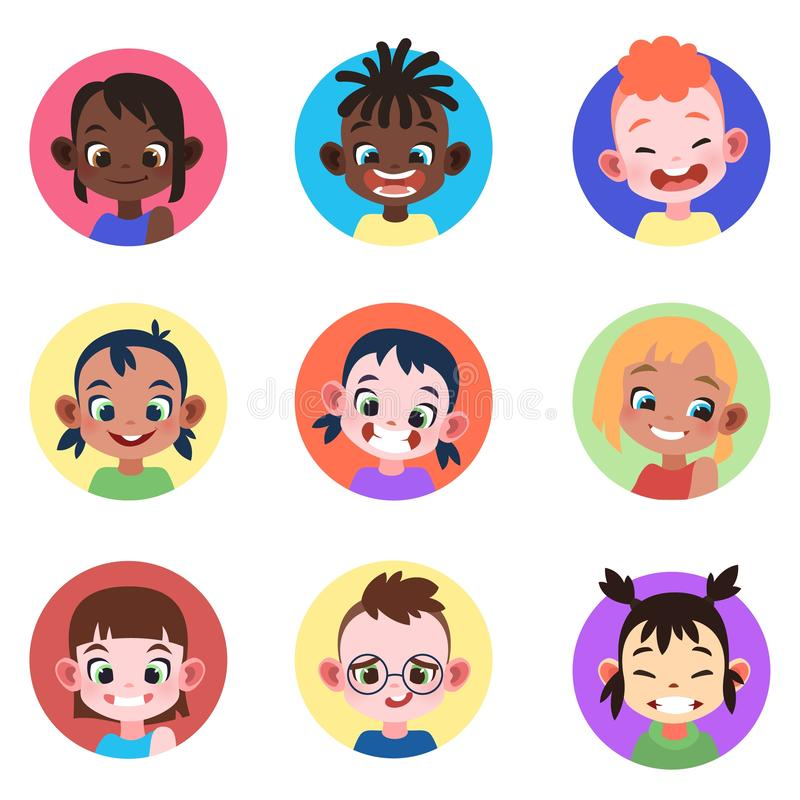 Children avatar. Faces childhood cute kids boys girls avatars head child profile portrait character web user. Flat vector set stock illustration
