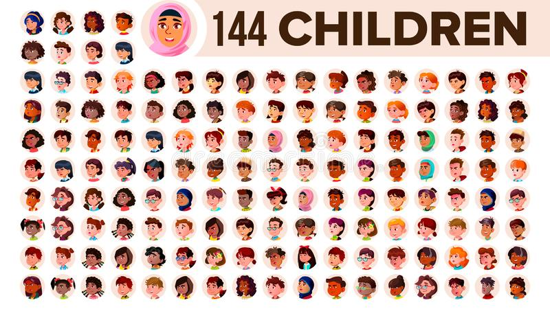 Children Avatar Set Vector. Child Girl, Guy. Multi Racial. Face Emotions. Multinational User People Portrait. Male stock illustration
