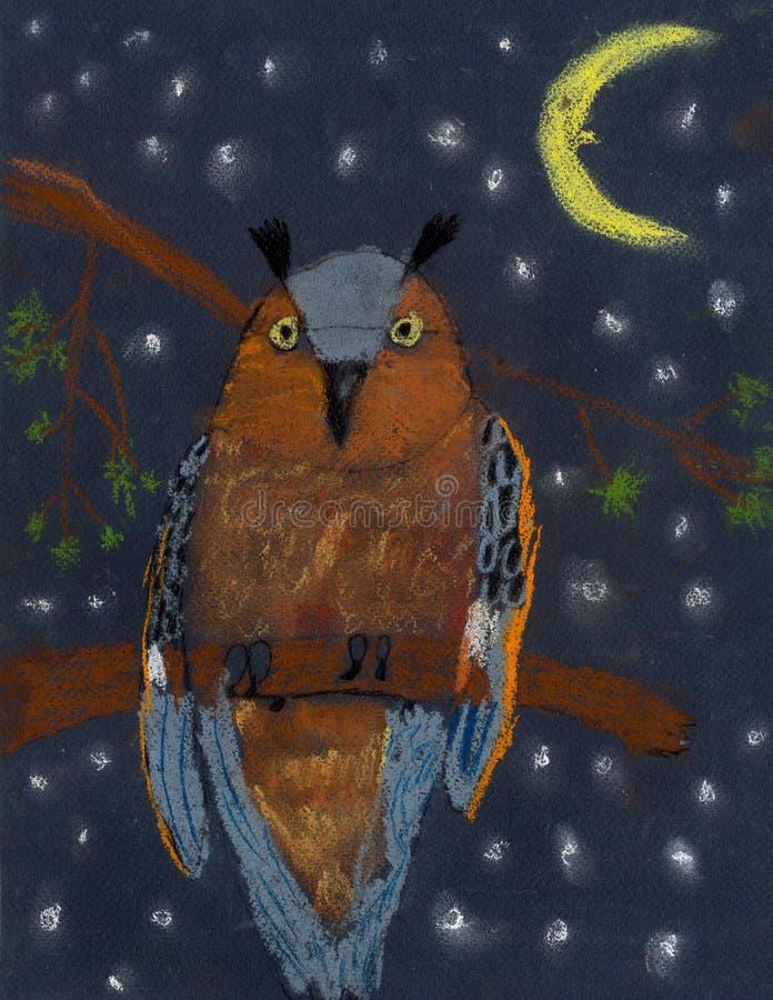 Children& x27; búho amenazador en colores pastel del color de dibujo de s stock de ilustración