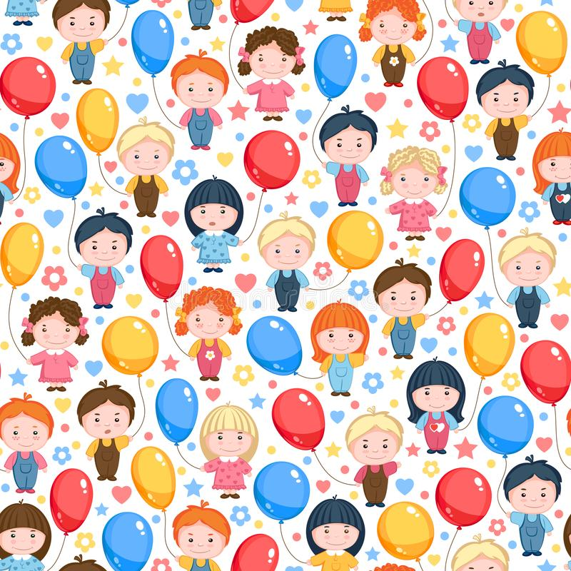 Children with balloons, red, yellow and blue. Seamless vector pattern stock illustration
