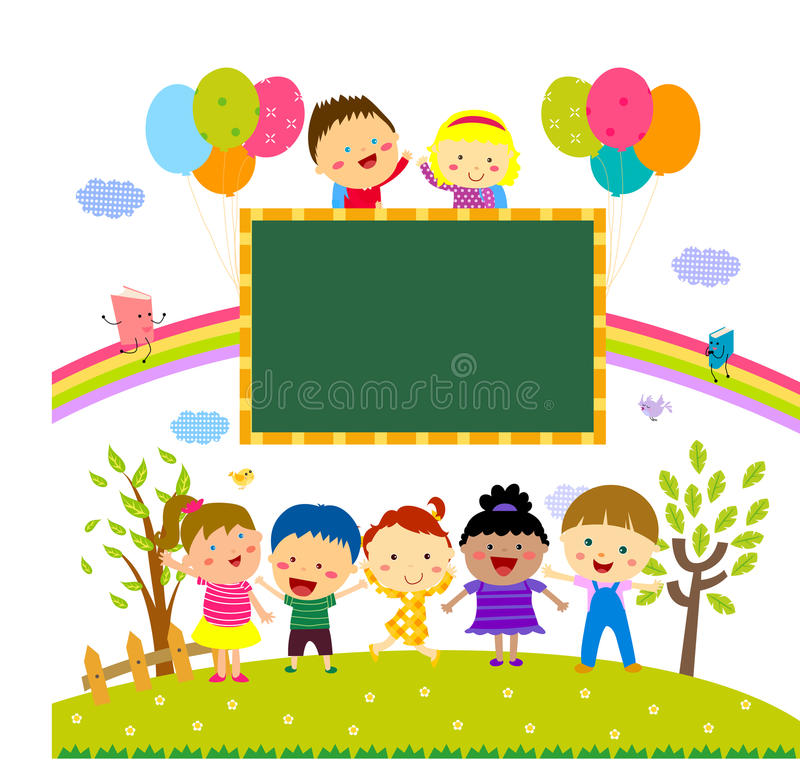 Children and banner vector illustration