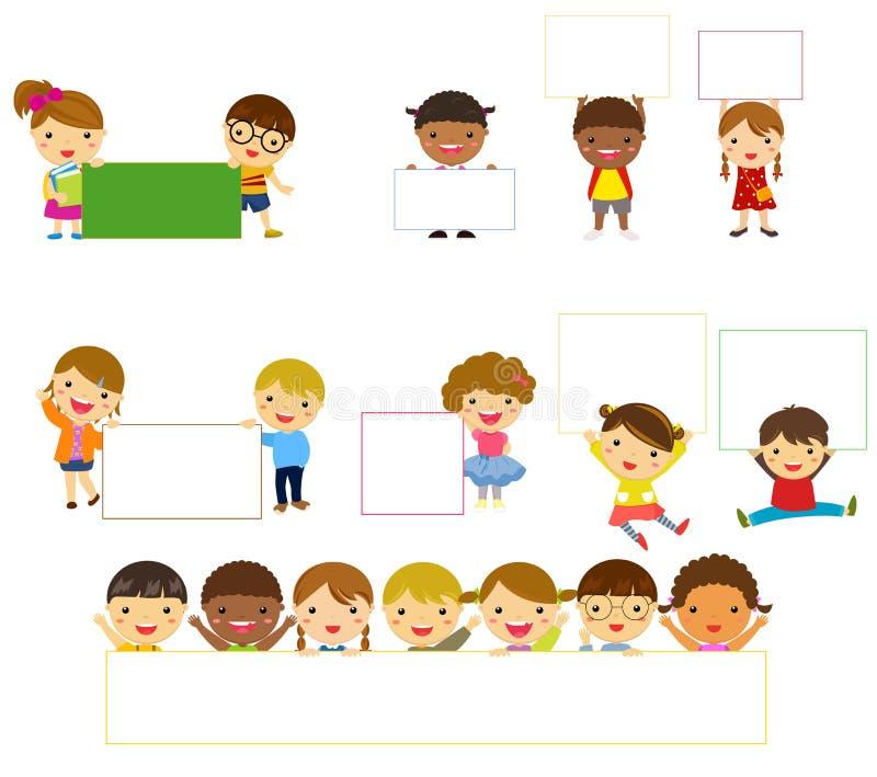Children and banner vector illustration