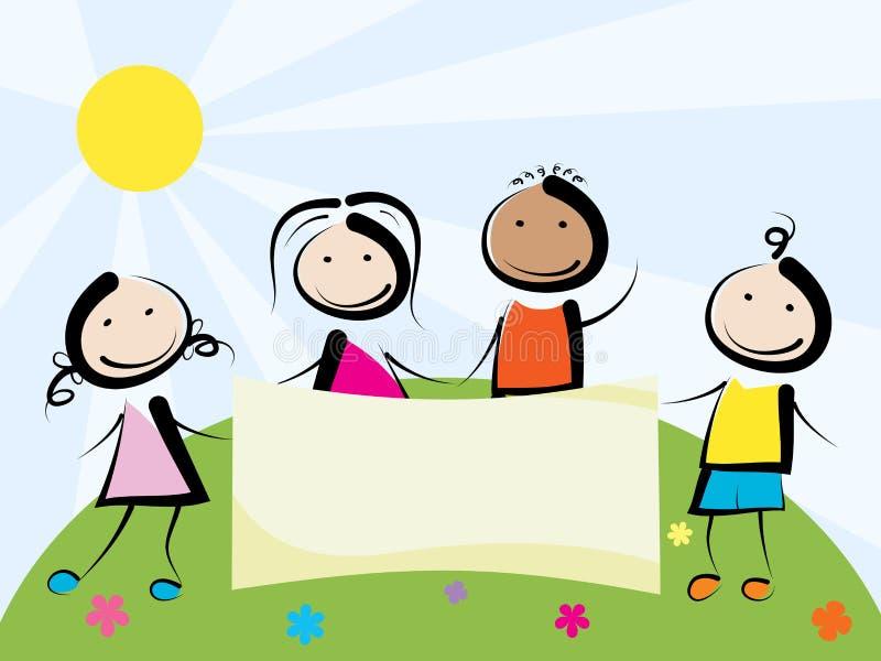 Children with banner vector illustration