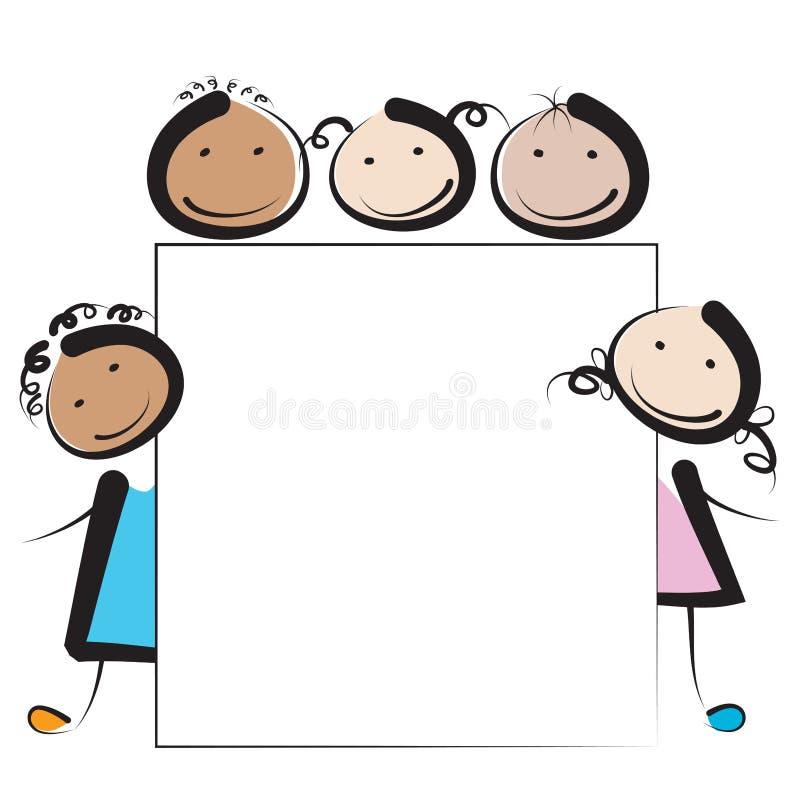 Children with banner stock illustration