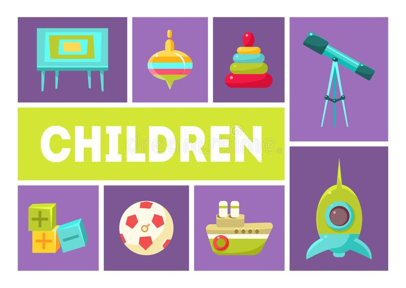 Children Banner Template, Babies Toys and Accessories Design Elements Vector Illustration. Flat Style stock illustration