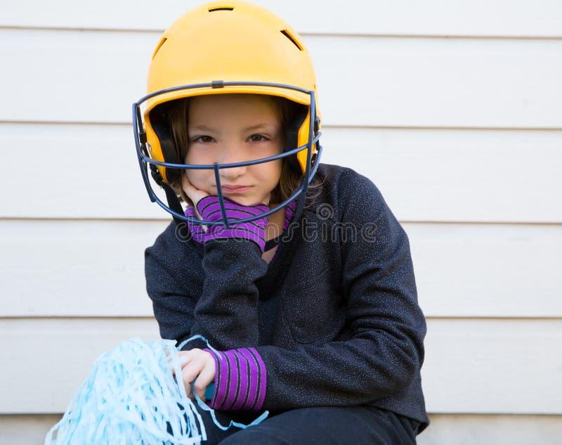 Children baseball cheerleading pom poms girl sad relaxed stock image