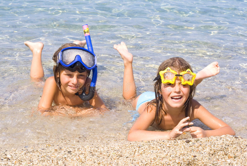 Download Children on the beach stock image. Image of view, greece - 22834913