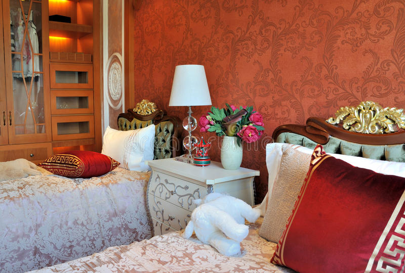 Children bedroom decoration in elaborate style royalty free stock image