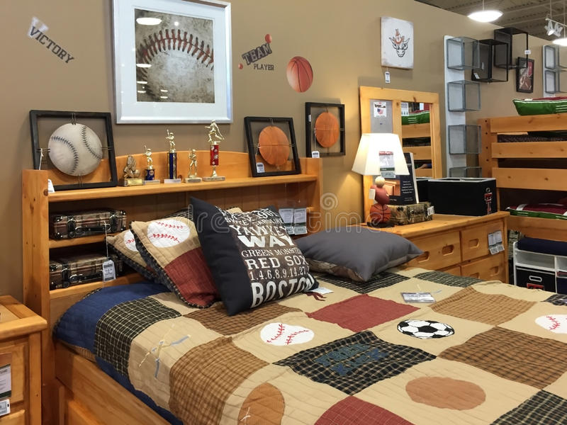 Children bedroom furniture selling. At furniture market in TX, USA stock images