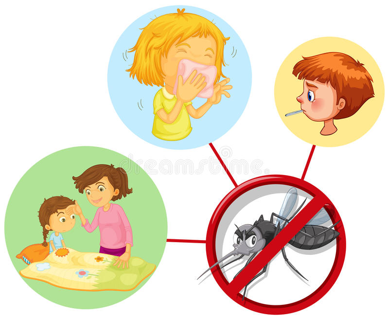 Children being sick from mosquito stock illustration