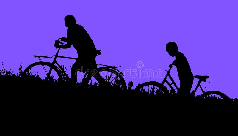 Two boys with bikes in the field. Two boys go with bikes through the grass. Silhouettes against the night sky stock illustration