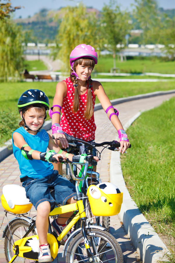 Download Children on bikes stock photo. Image of bikes, friends - 21737922