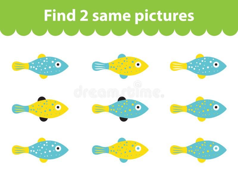 Children& x27; bildande lek för s Fynd två samma bilder Uppsättning av fisken för det modiga fyndet två samma bilder också vektor vektor illustrationer