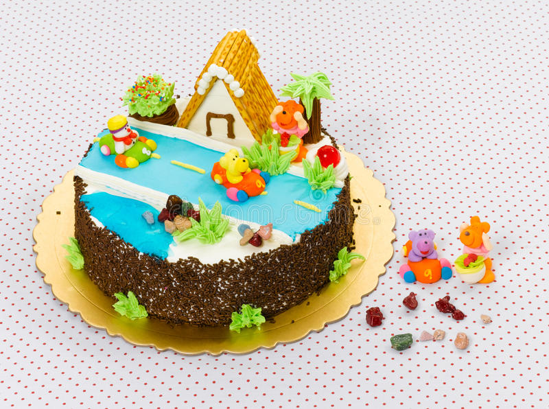 Children birthday cake. Beautiful and eatable children happy birthday cake stock image
