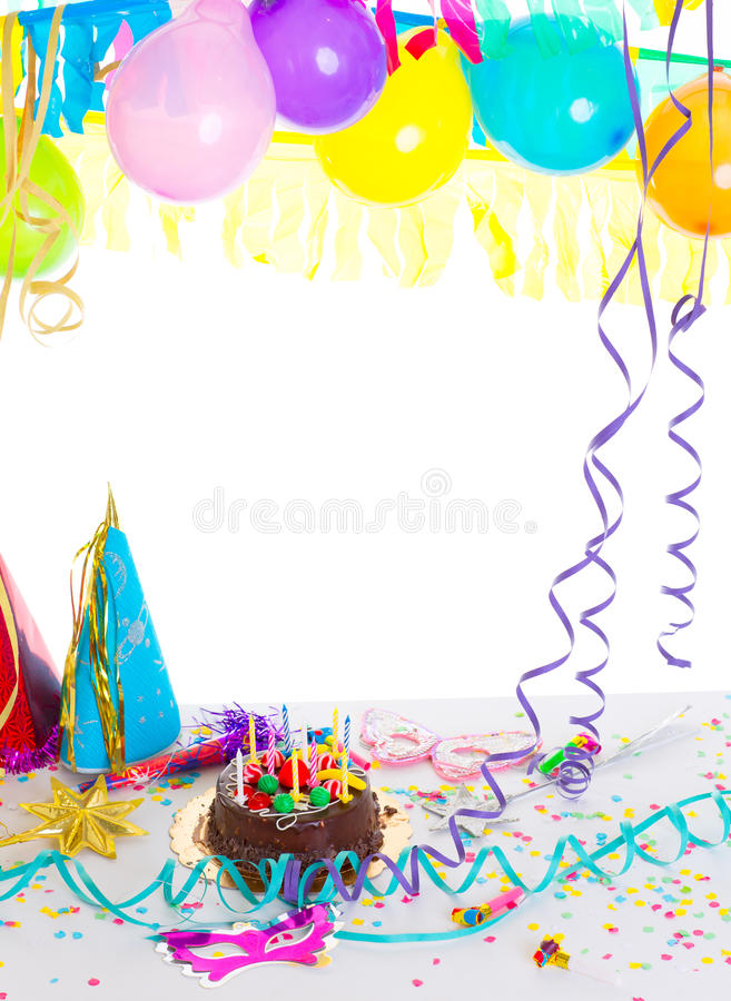 Children birthday party with chocolate cake stock photography