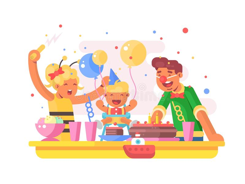 Children birthday party vector illustration